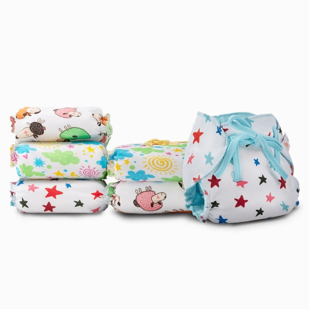 SuperBottoms Dry Feel Langot - Pack of 6, Printed - Organic cotton padded langot with gentle elastics & a SuperDryFeel(TM) Layer on top