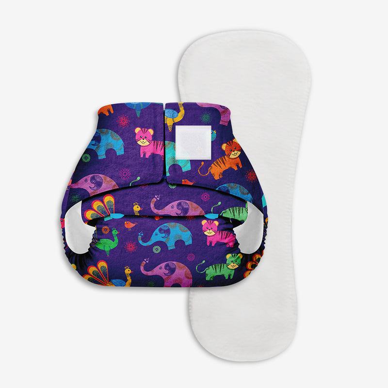 Superbottoms Newborn UNO - Washable & resuable cloth diaper + 1 Organic Cotton Dry Feel Pad (2.5kg- 6kg Babies)- Purple Love
