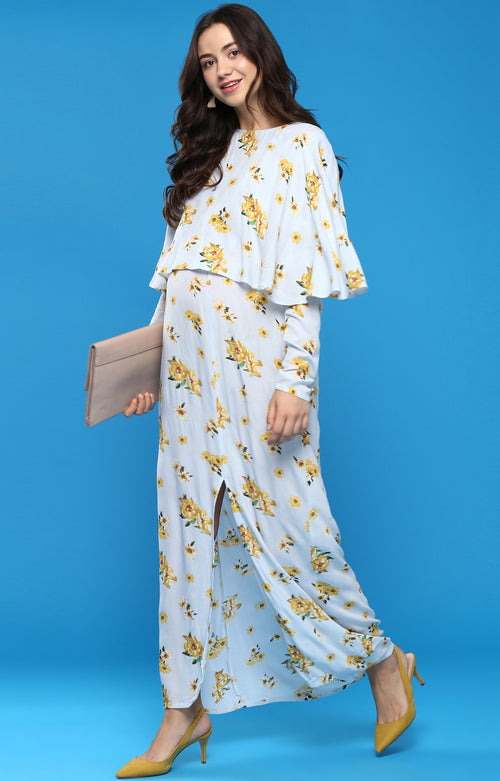 Cape Overlay Maxi Dress - momsoon maternity fashion wear