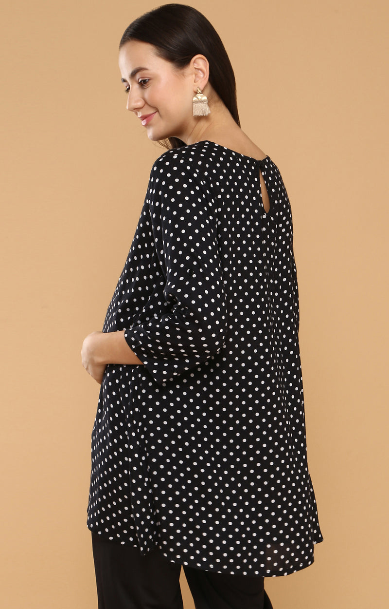 Lace Up Neck Polka Dot Top - momsoon maternity fashion wear