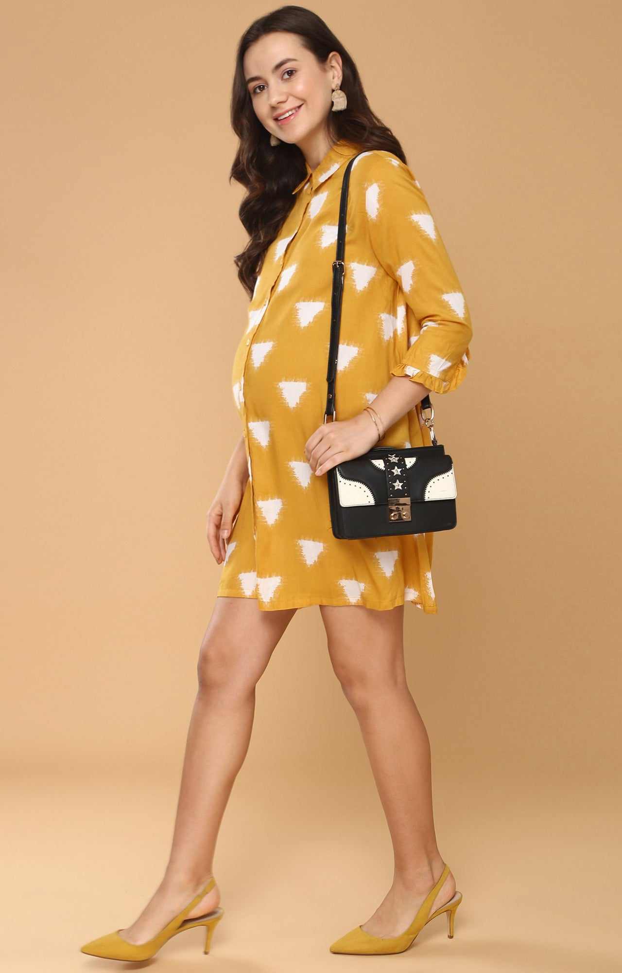 Momsoon Maternity Button Up Floral Print Tunic - momsoon maternity fashion wear