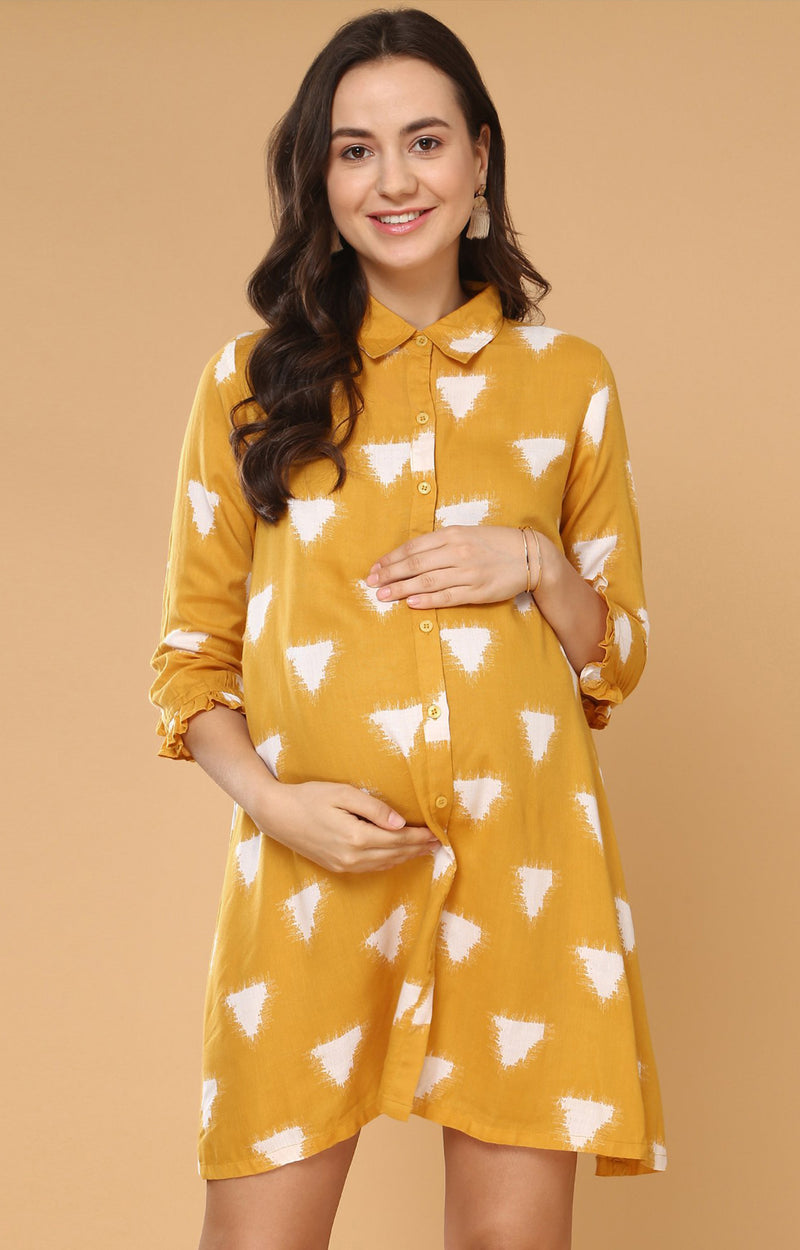 Maternity Button Up Floral Print Tunic - momsoon maternity fashion wear