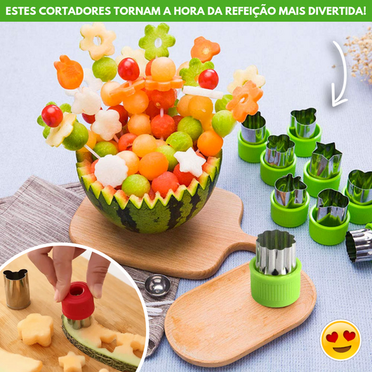 Happy Snacks - Kit de Cortadores de Frutas e Vegetais