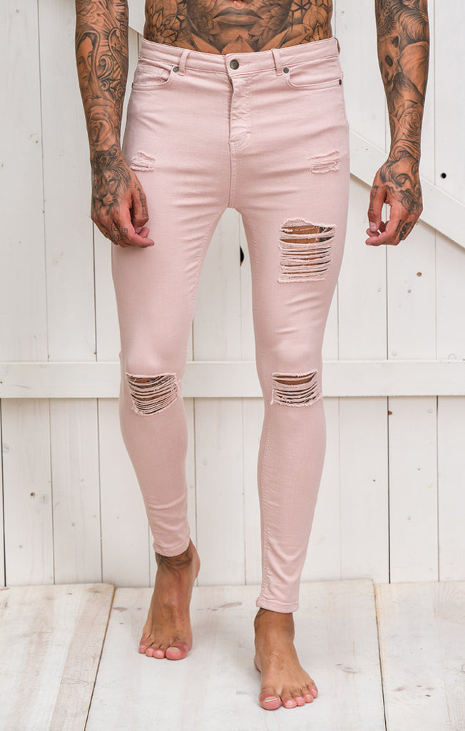Light Pink Ripped and Repair Jeans