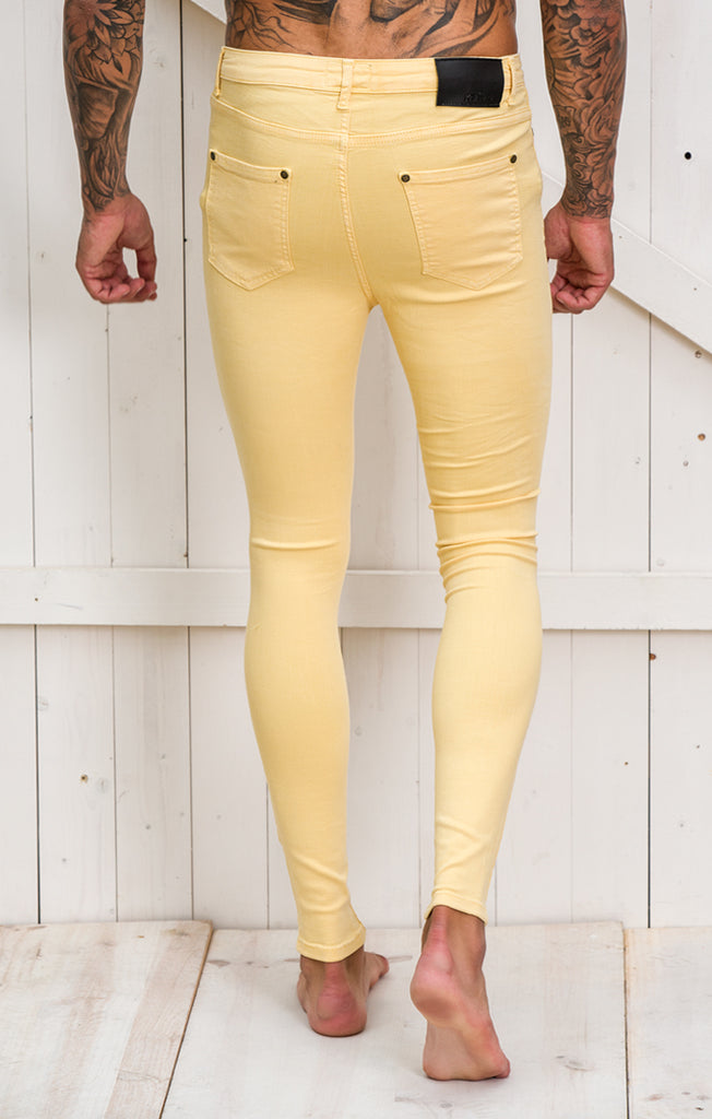 Yellow Ripped and Repair Jeans