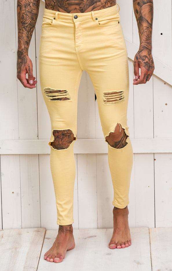 Yellow Distressed Jeans