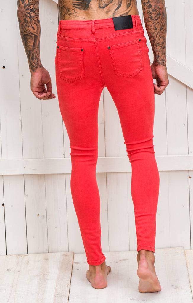 Red Ripped and Repair Jeans