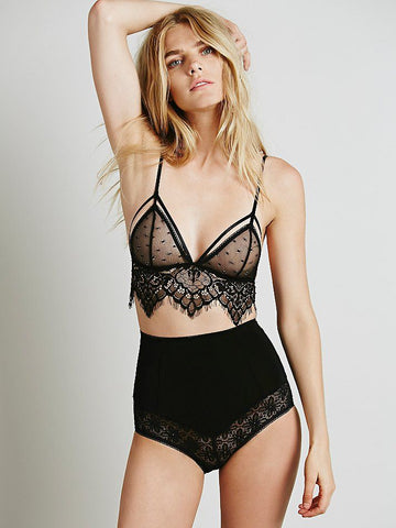 Lace and Mesh Long Line Bralette