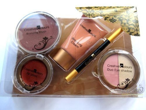 CREATIVE COLOURS High Quality BRONZING GIFT SET blush cream lipgloss lipliner