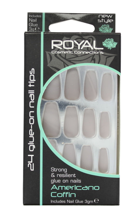 Royal 24 Glue-On Strong & Resilient Coffin Nail Tips , plain
