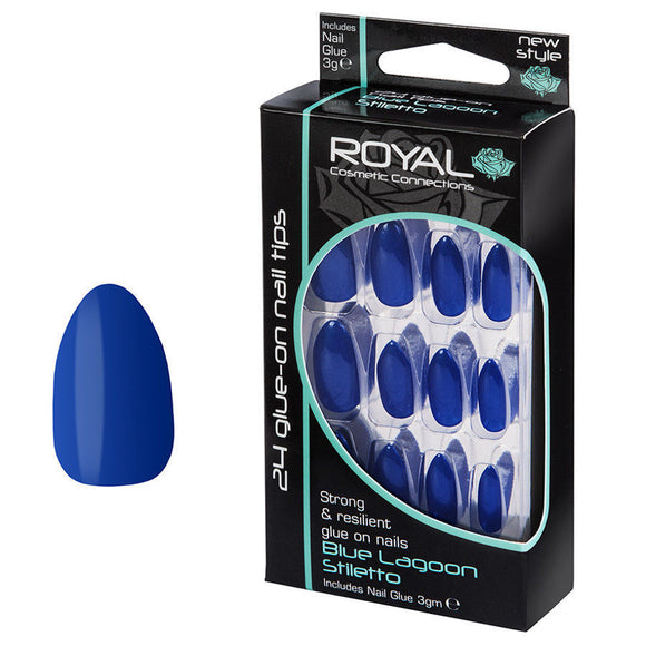 Royal 24 Glue On Strong & Resilient Nail Tips- Blue Lagoon Stiletto