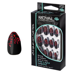 ROYAL FIRE LIGHT STILETTO 24 GLUE ON NAILS WITH GLUE