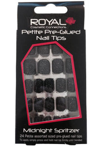 Royal 24 Petite Pre-Glued Nail Tips Midnight spritzer