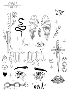 Angel Temporary Tattoo Sheet