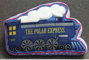 Embroidered Train Plush Pillow