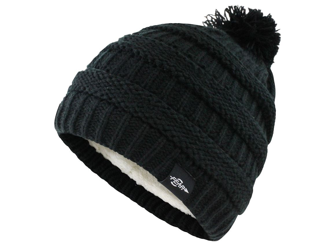 Fear0 NJ Women Plush Insulated EKnit Pom Pom Beanie Hat Women's Fashion - Women's Accessories - Women's Hats Fear0 Footwear/Apparel Black
