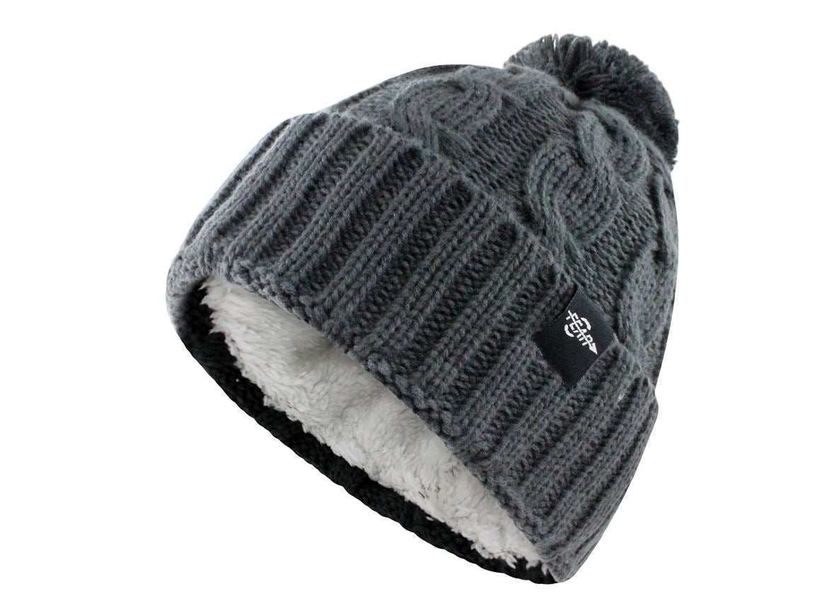 Fear0 Plush Insulated Extreme Cold Gear Womens Black Cuff Knit Pom Beanie Hat - OwensAssetFund Gifts