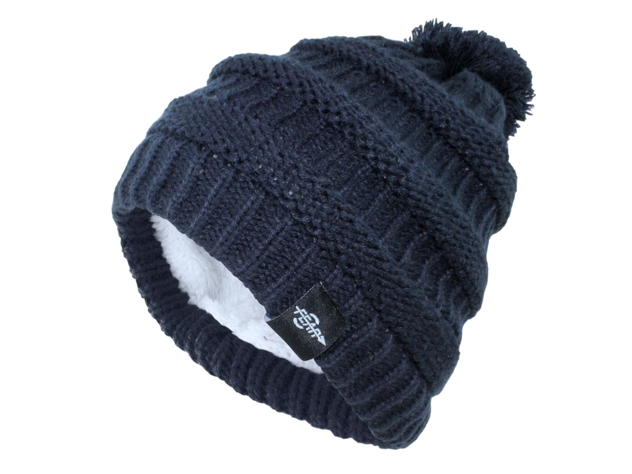 Fear0 NJ Women Plush Insulated EKnit Pom Pom Beanie Hat Women's Fashion - Women's Accessories - Women's Hats Fear0 Footwear/Apparel Dark Blue