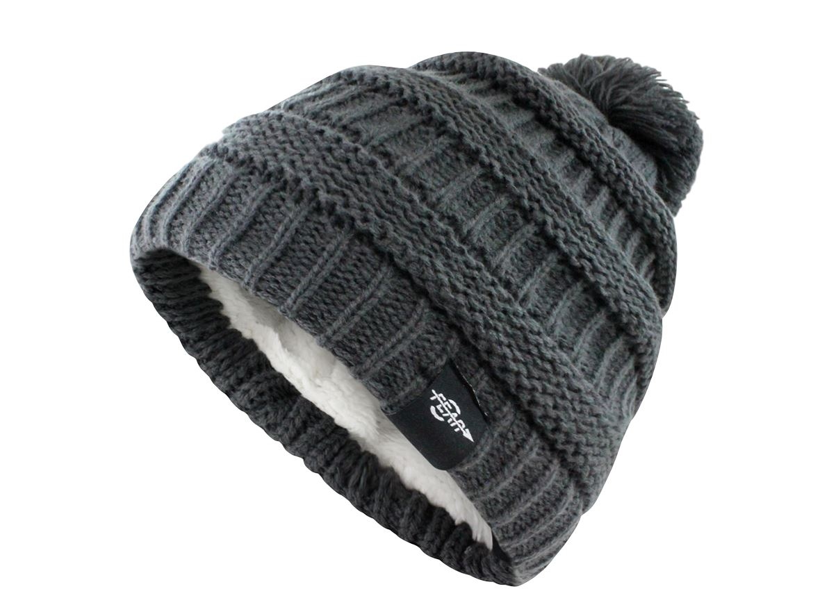 Fear0 NJ Women Plush Insulated EKnit Pom Pom Beanie Hat Women's Fashion - Women's Accessories - Women's Hats Fear0 Footwear/Apparel Gray