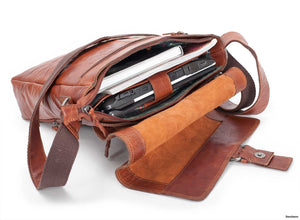 Flap Bag i Skinn - Tan 13""