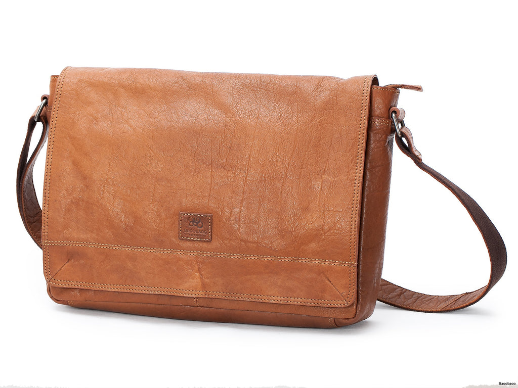 Flap Bag i Skinn - Tan 13-15""