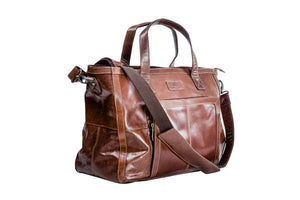 weekendbag i skinn brun front-side