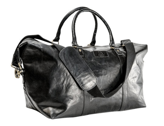 weekendbag i skinn svart front-side