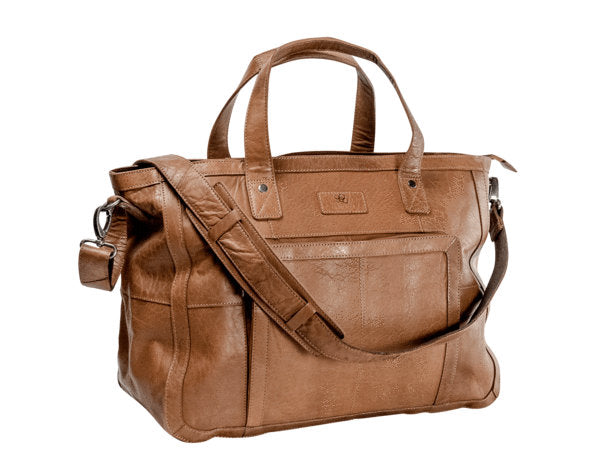 weekendbag i skinn tan front-side