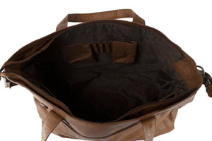 weekendbag i skinn tan inside front