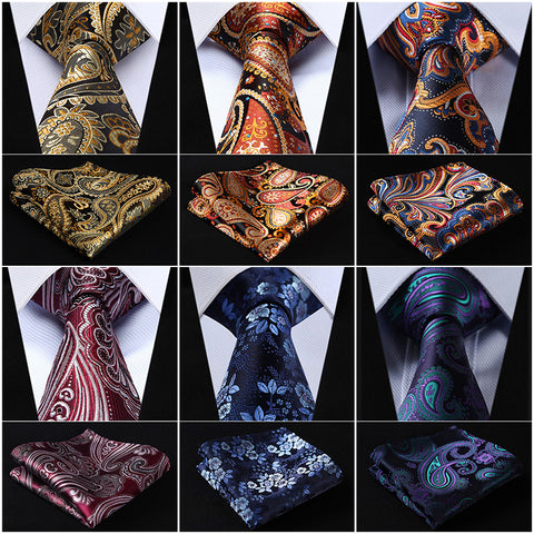 "Classic Floral 3.4"" Silk Men's XL Necktie and Pocket Square Set"