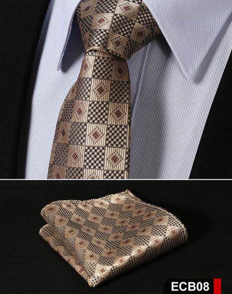 "DJD Checks  2.75"" 100% Silk Woven Men's Necktie and Pocket Square Set"