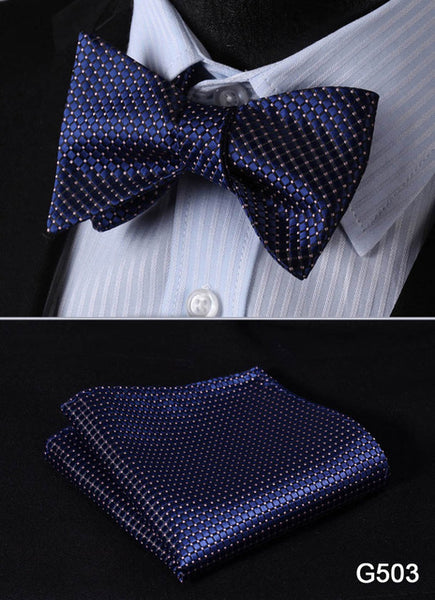 Diamond Dots Silk Woven Men's Bow Tie and Pocket Square Set