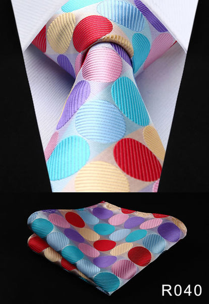 "Polka Dot 3.4"" 100% Silk Woven Men's Necktie and Pocket Square Set"