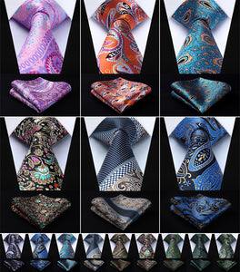 "Paisley 3.4""Silk Woven Men's Necktie and Pocket Square Set"