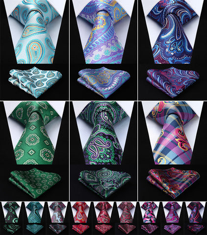 "Paisley flower 3.4""Silk Woven Men's Necktie and Pocket Square Set"