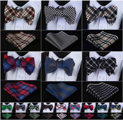 L7 Squares 100% Cotton Men's Bow Tie and Pocket Square Set