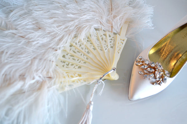 Photo Shoot of Exquisite Freya Rose shoes  accompanied by Rockcoco fans