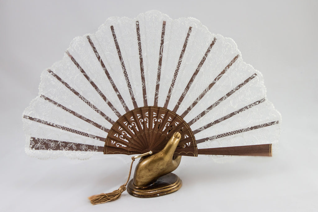 Rockcoco Bruges delicate handmade cream lace luxury hand fan