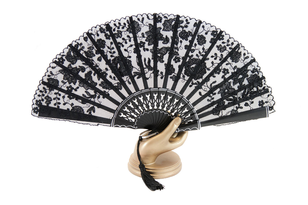 Rockcoco Bruges delicate handmade black lace luxury hand fan