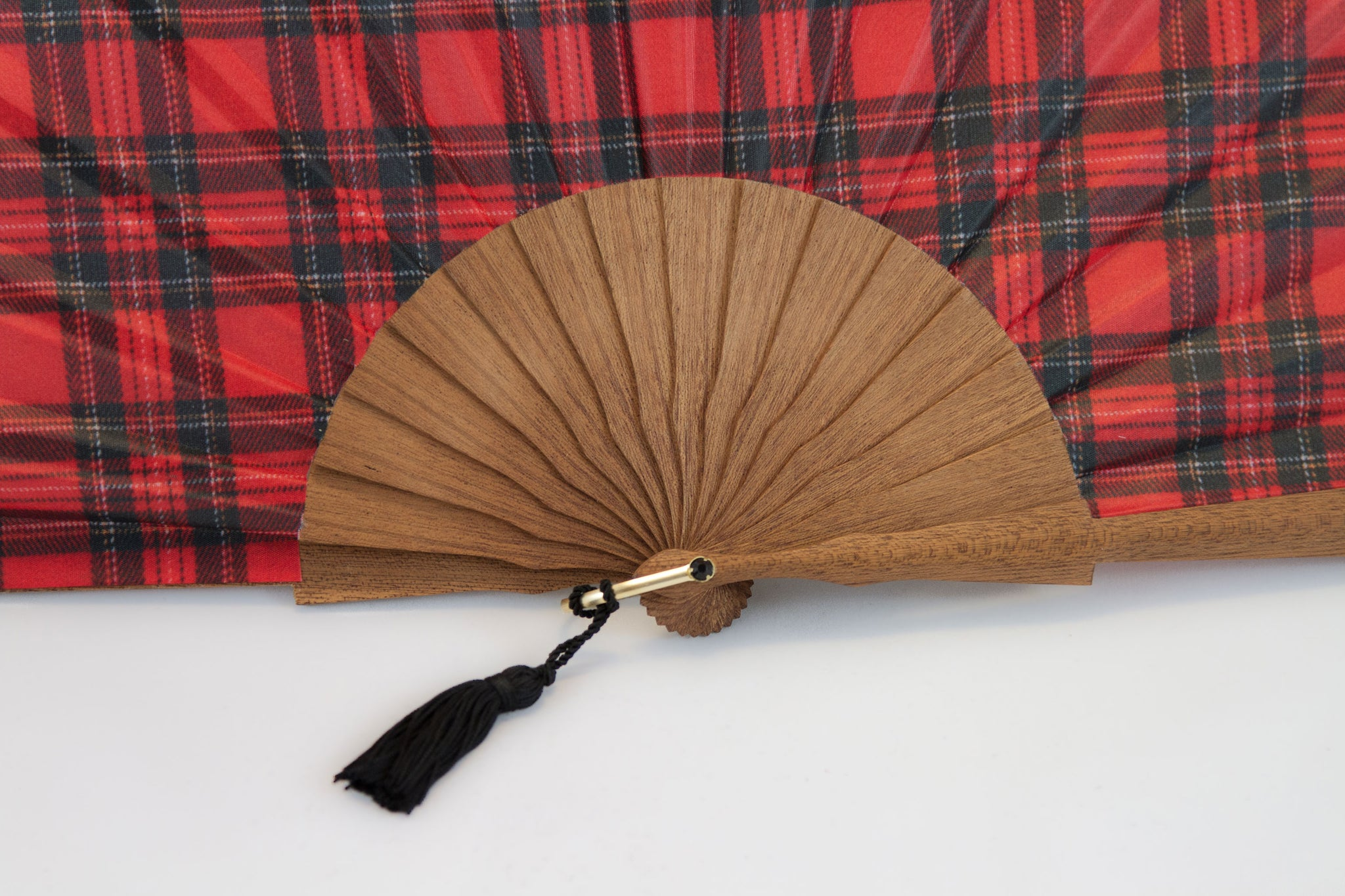 On trend Edinburgh red tartan silk/polyester handmade fan close up