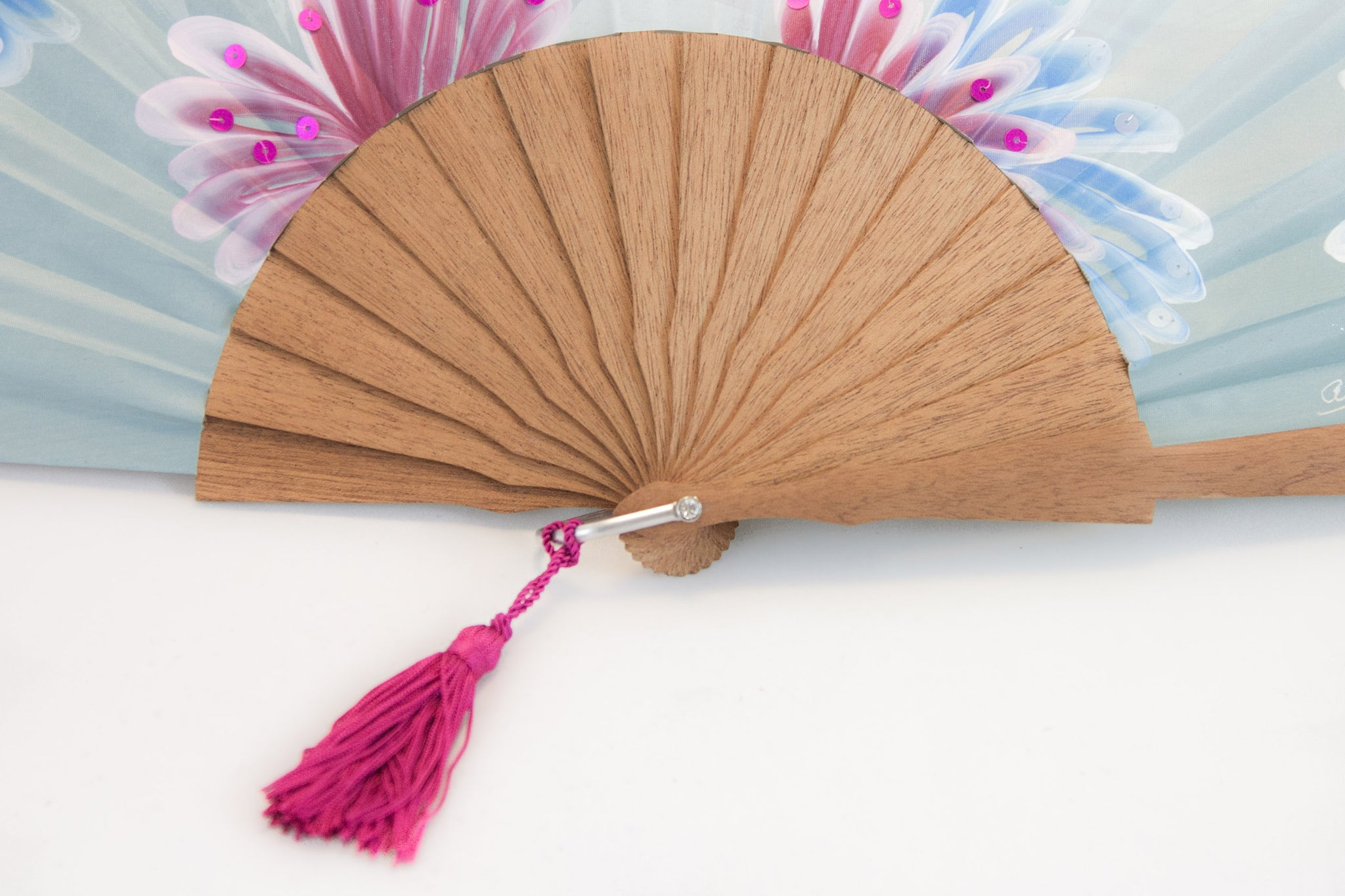 Hawaii - exquisite blue hand painted hand fan wooden handle