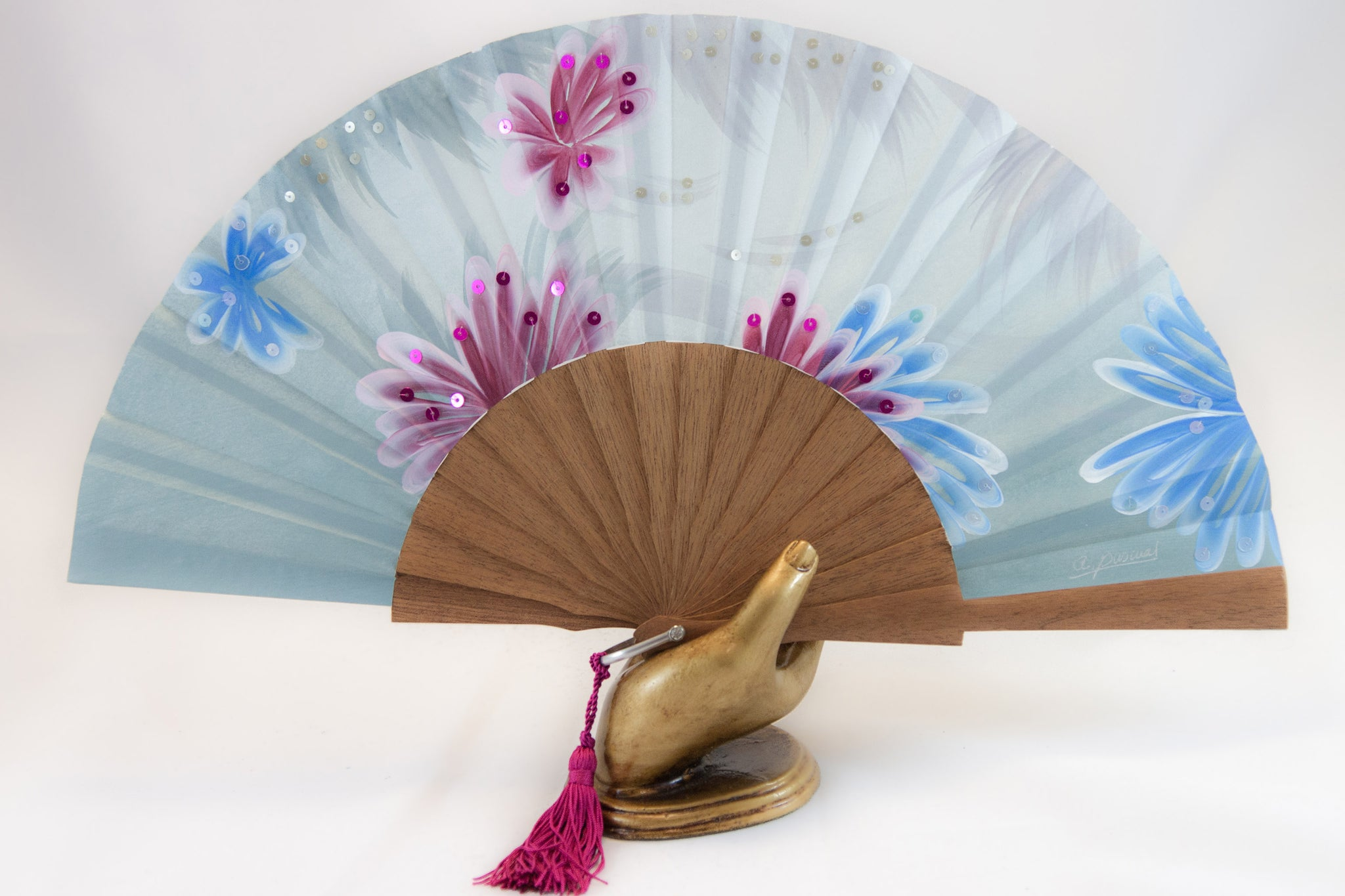 Hawaii - exquisite blue hand painted hand fan