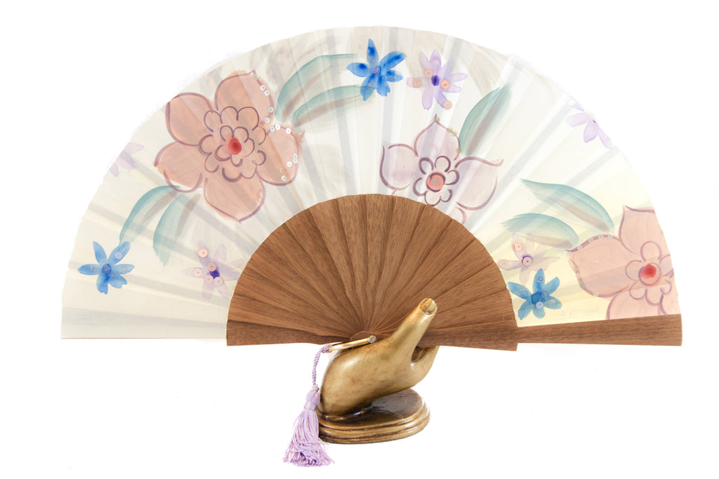 Rockcoco fans Hawaii exquisite yellow hand painted hand fan
