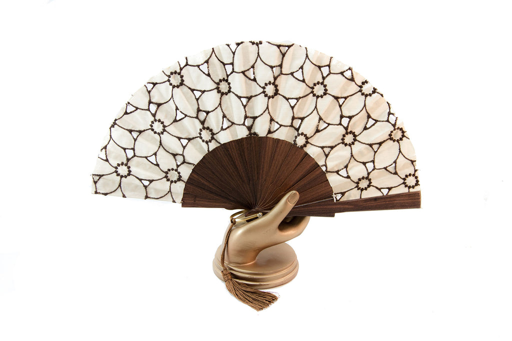 Limoges - Beautiful handmade cream and brown cotton open work fan