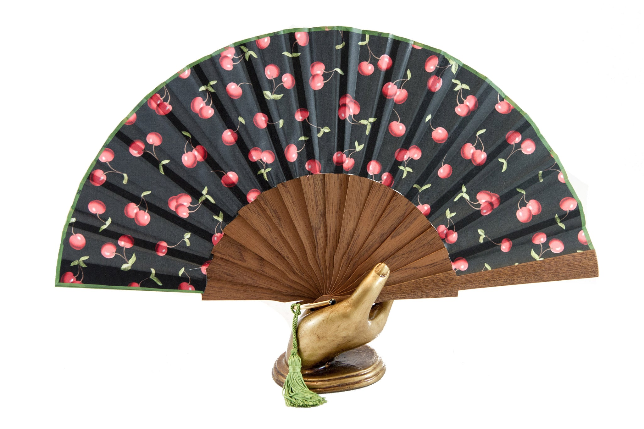 Morello - Striking contemporary cherries design handmade silk fan