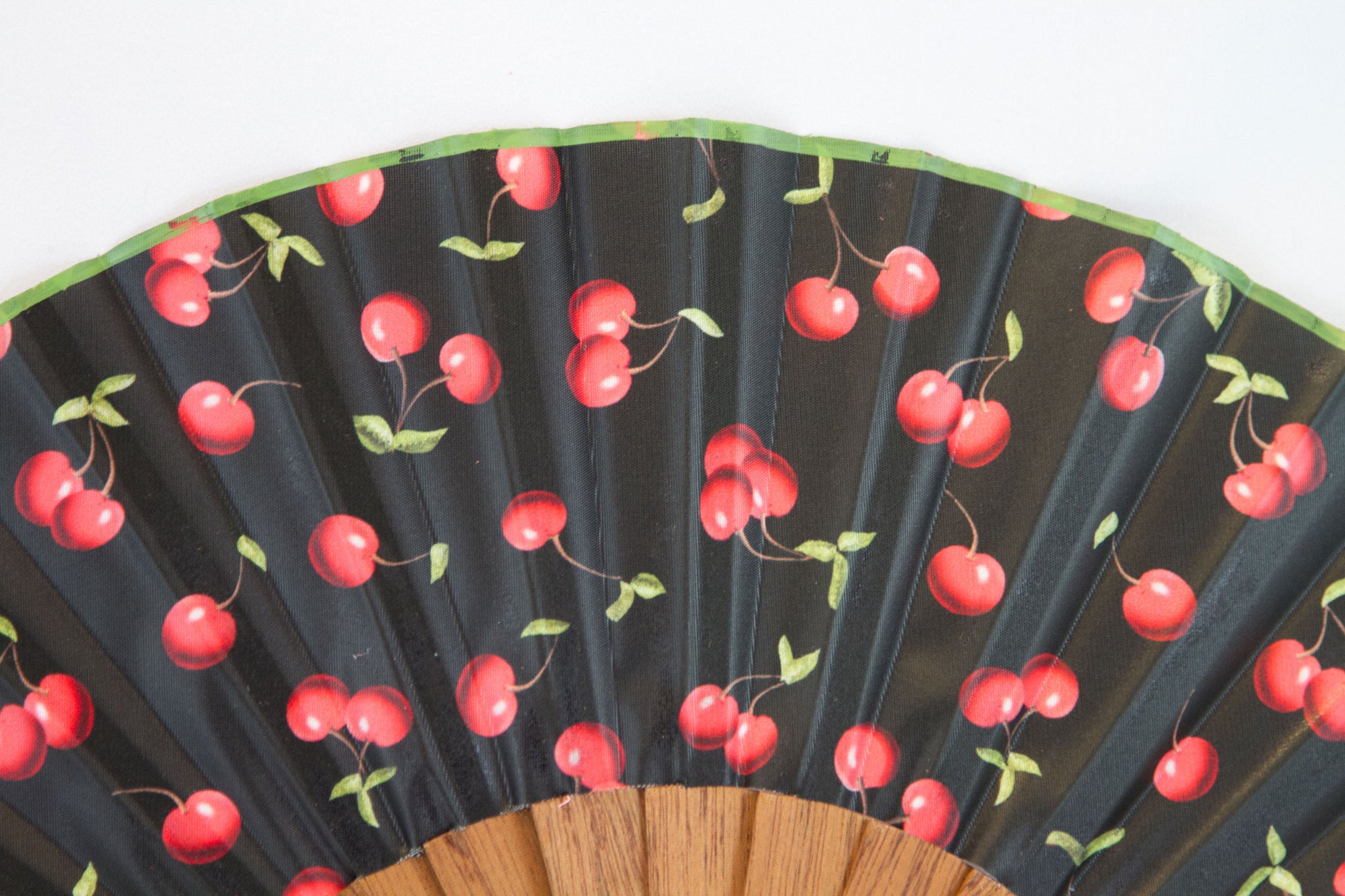 Morello - Striking contemporary cherries design handmade silk hand fan