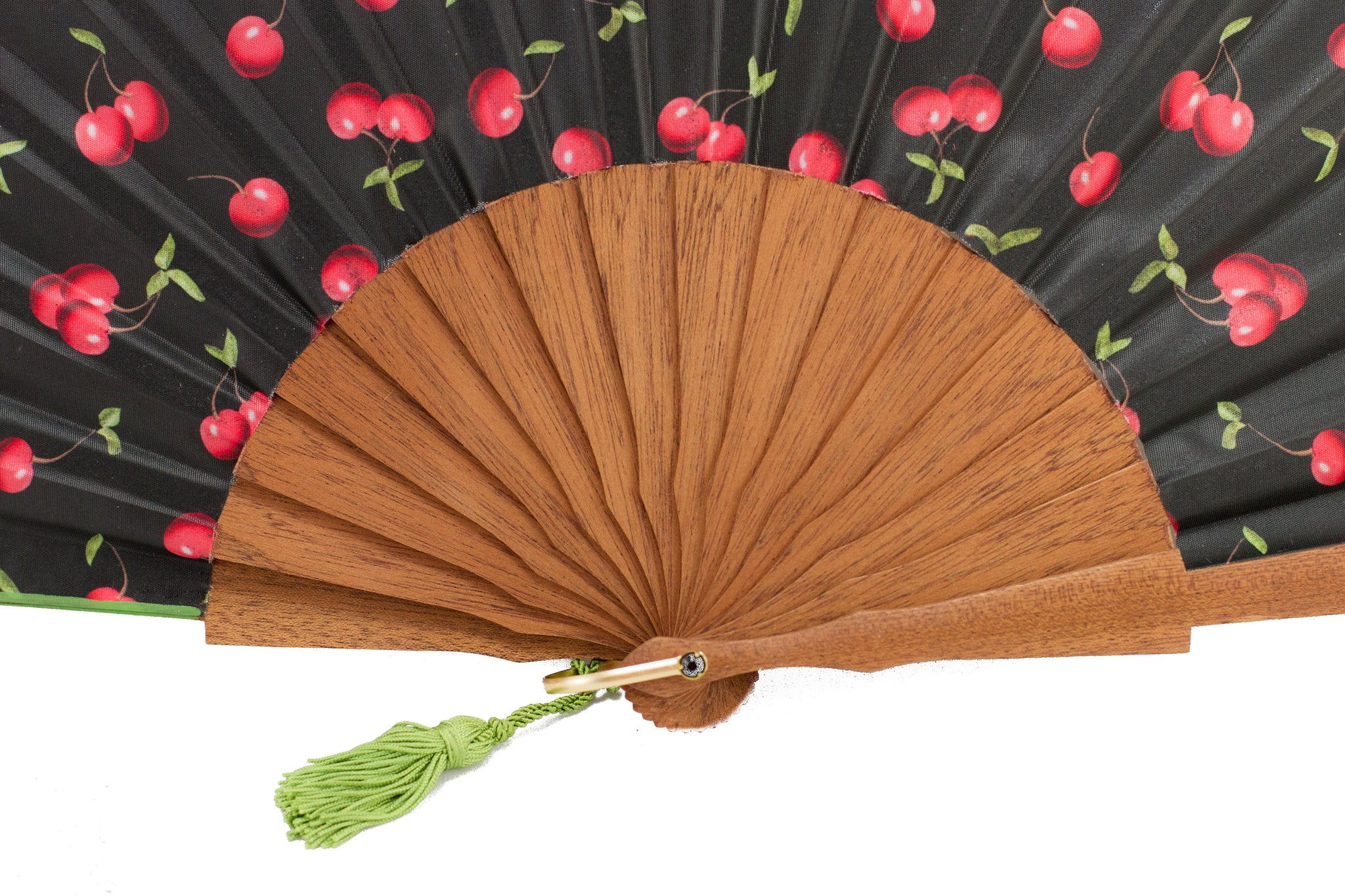 Morello - Striking contemporary cherries design handmade silk fan detail