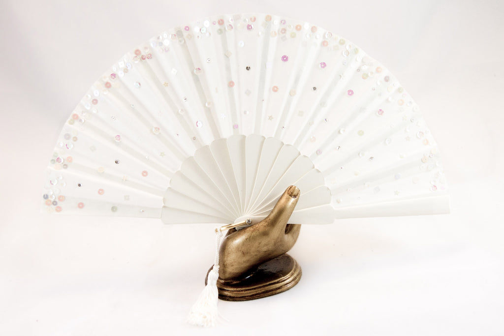 Handmade fan adorned with hand sewn sequins on a cream painted Danta wood frame