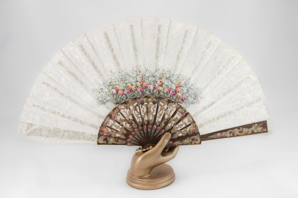 Provence - Exquisite hand painted vintage style lace fan