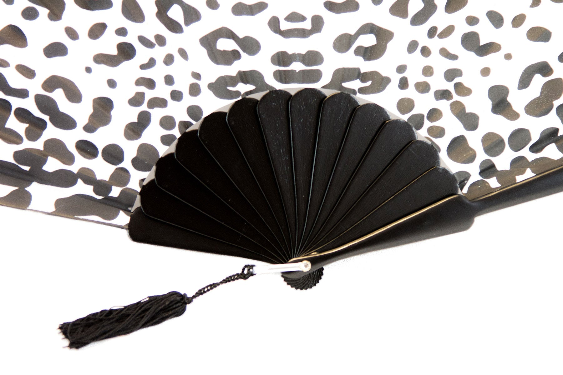 On trend handmade black and white safari print luxury hand fan detail